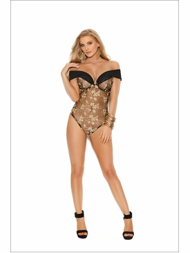 Off The Shoulder Embroidered Lace Teddy With Underwire Cups
