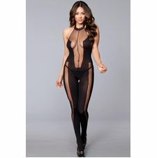 Opaque and Sheer Halter Bodystocking