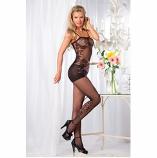 Opaque Floral Design Bodystocking