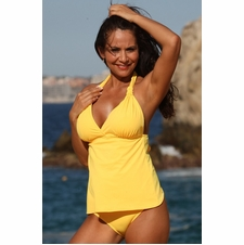 Open Back Sunshine Yellow Tankini Swimwear
