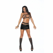 Open Bust Vinyl Bandeau Top With Buckle Closure