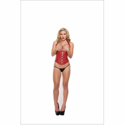 Open Cup Buckled Vinyl Corset