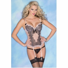 Pink Chemise With Black Lace Details