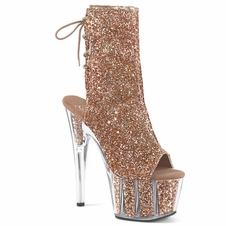 Pleaser Adore-1018G Platform Glitter Ankle Boot