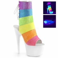 Pleaser Adore-1018RBG Reactive Rainbow Effect Ankle Boot