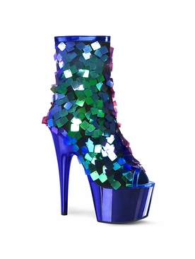 Pleaser Adore-1031SSQ Open Toe Sequin Ankle Boot