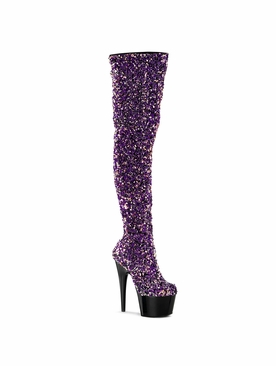 Pleaser Adore-3020 Stretch Sequin Thigh High Boot