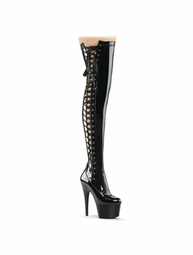 Pleaser Adore-3050 Thigh High Boot W/Side Lace Up Ribbon