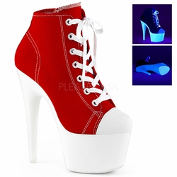 Pleaser Adore-700SK-02 Lace Up Front Canvas Sneaker