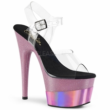 Pleaser Adore-708-2HGM Glitter Ankle Strap Sandal
