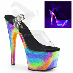 Pleaser Adore-708GXY Galaxy Glitter Ankle Strap Sandal