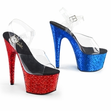 Pleaser Exotic Dancer Shoes Adore-708HQSQ Glittery Ankle Strap Sandal