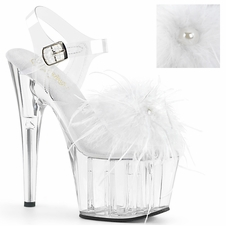 Pleaser Exotic Dancer Shoes Adore-708MF Feathery Ankle Strap Sandals