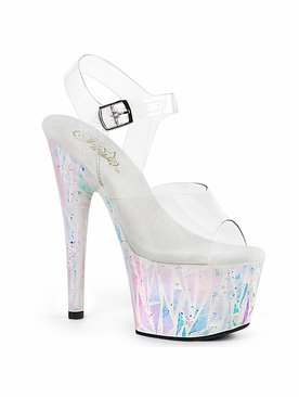 Pleaser Adore-708SPLA-2 Holographic Ankle Strap Sandal