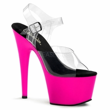 Pleaser Adore-708UV Exotic Dancer Neon Bottom Ankle Strap Sandal