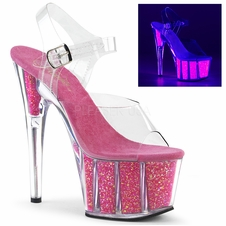 Pleaser Adore-708UVG UV Reactive Ankle Strap Sandal