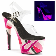 Pleaser Adore-708UVR Abstract Design Ankle Strap Sandal