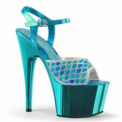 Pleaser Adore-709MMRS Mermaid Scale Ankle Strap Sandal