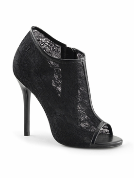 Pleaser Amuse-56 Open Toe Ankle Boot W/ Lace Overlay