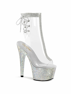 Pleaser Bejeweled-1018C-2RS Lace-Up Back Ankle Boot