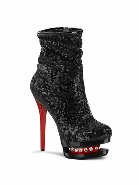 Pleaser Blondie-R-1009 Ruched Sequined Ankle Boot
