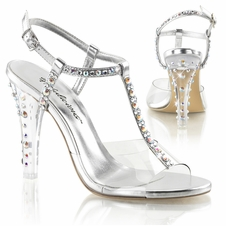 Pleaser Clearly-426 Sling Back T-Strap Sandal