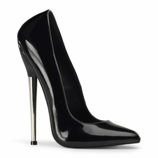 Pleaser Dagger-01 Solid Brass Heel Plain Pump