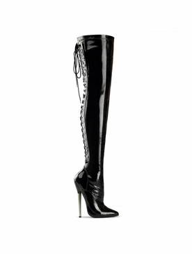 Pleaser Dagger-3063 Thigh High Lace Up Back Boot