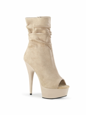 Pleaser Delight-1031 Open Toe Slouch Ankle Boot