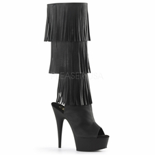 Pleaser Delight-2019-3 Open Toe/Heel Fringed Knee High Boots