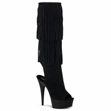 Pleaser Delight-2019 Open Toe/Back Fringed Knee High Boot