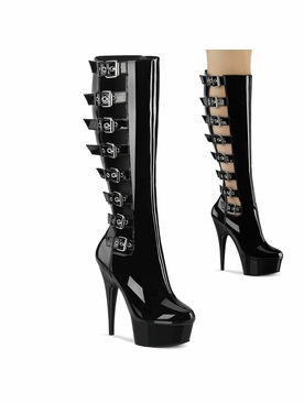 Pleaser Delight-2047 Open Side Knee High Boot W/Buckles