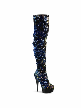 Pleaser Delight-3004 Platform Over-The-Knee Slouch Boot