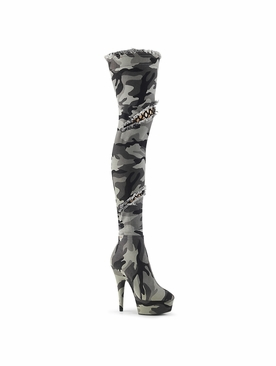 Pleaser Delight-3005 Camo Thigh High Boot W/Patches