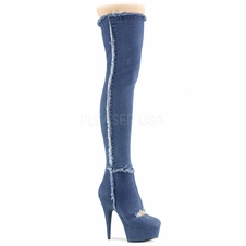 Pleaser Delight-3007 Stretch Denim Cutout Thigh High Boot