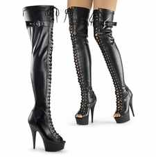 Pleaser Stripper Boots Delight-3025 Lace-Up Thigh High Boot