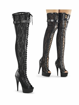 Pleaser Delight-3025ML Mesh And Lace Thigh High Boot