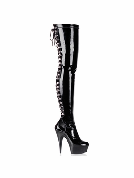 Pleaser Delight-3063 Back Lace Up Platform Thigh High Boots