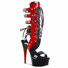 Pleaser Delight-600-38 Two Tone Mid-Calf Front Lace Up Sandal