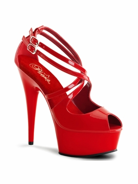 Pleaser Delight-612 Peep Toe Double Criss Cross Sandal