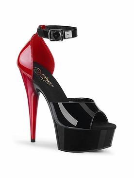 Pleaser Delight-617 Two Tone Open Toe Ankle Strap d'Orsay Sandal