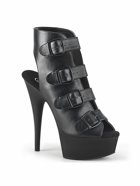 Pleaser Delight-683 Ankle Bootie W/Buckle Straps