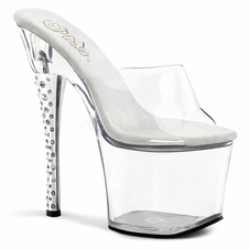 Pleaser Diamond-701 Rhinestone Embedded Platform Slide