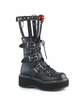 Pleaser Emily-355 Lace-Up Buckled Ankle Boot