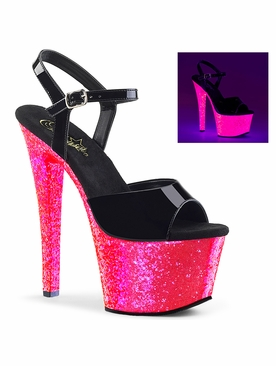 Pleaser Exotic Dancer Shoes Sky-309UVLG Ankle Strap Platform Sandal