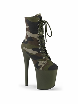 Pleaser Flamingo-1020Camo Platform Lace Up Ankle Boot
