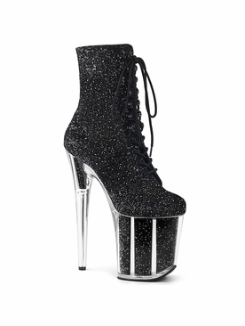 Pleaser Flamingo-1020G Glitter Filled Platform Ankle Boot