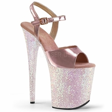 Pleaser Flamingo-809LG Holographic Glitter Stripper Heels