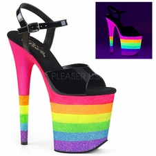 Pleaser Flamingo-809UVRB Rainbow Ankle Strap Sandal