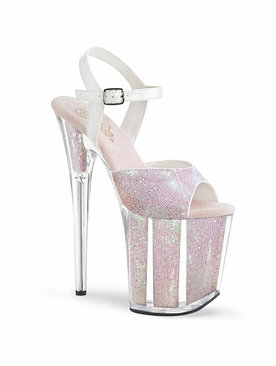 Pleaser Flamingo-810G Exotic Dancer Glittery Ankle Strap Sandal